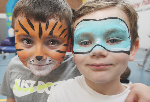 Trae McFarlane and Kyaden McKeaveney party at the 'Shine' event in Whiterock Leisure Centre