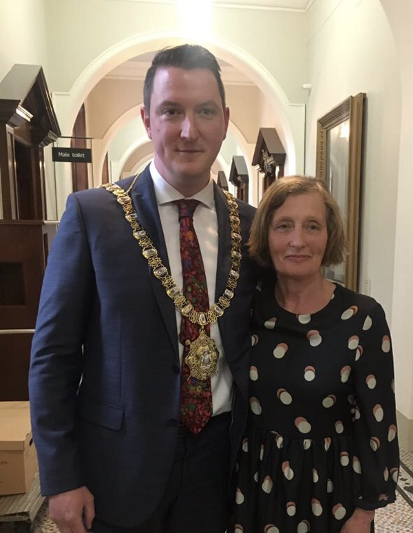 John Finucane with his mother Geraldine in Belfast City Hall on Tuesday night