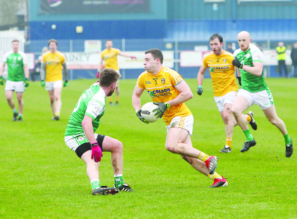 Declan Lynch in action against London at Corrigan Park in the League. The Whiterock venue has been given the green light to host next Saturday's All-Ireland Qualifier against Kildare