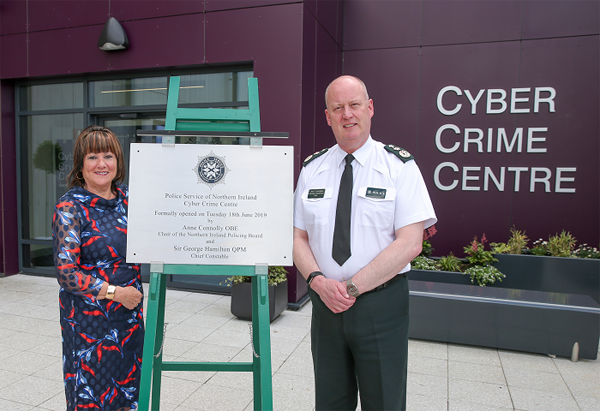 Northern Ireland Policing Board Chair Anne Connolly and Chief Constable Sir George Hamilton at the official opening of the PSNI's Cyber Crime Centre
