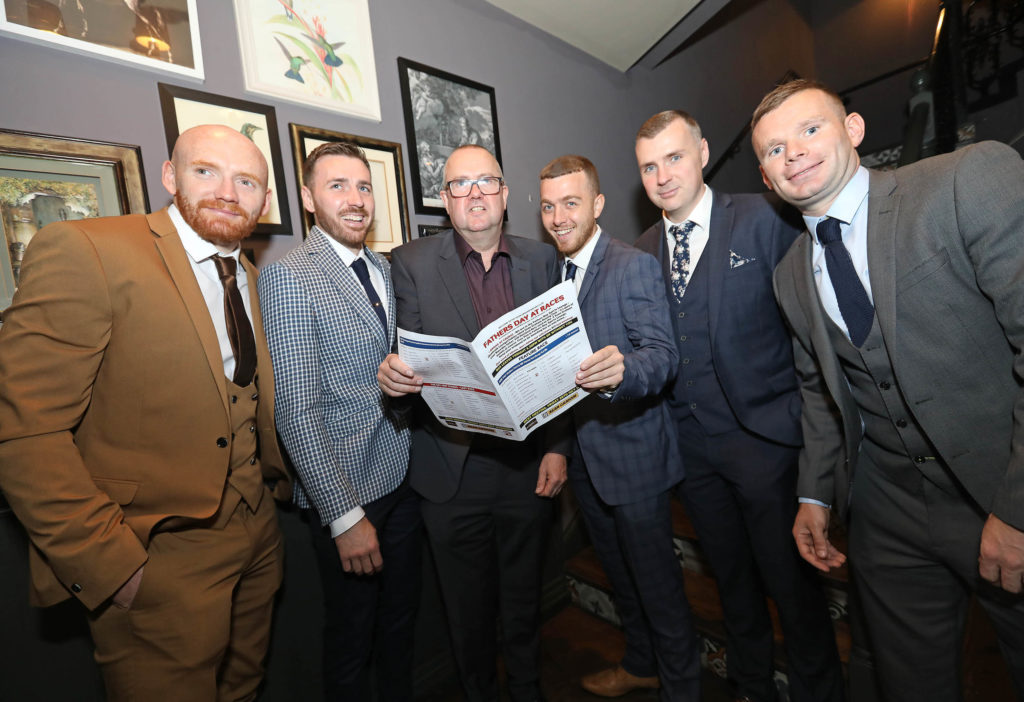 Joe McNeill, Niall Hawkins, Noel Hamill, Cormac Mullan, Michael Hawkins and Paul Prigent from Crumlin Star FC suited and booted on Father's Day for a Day at the Downpatrick Races