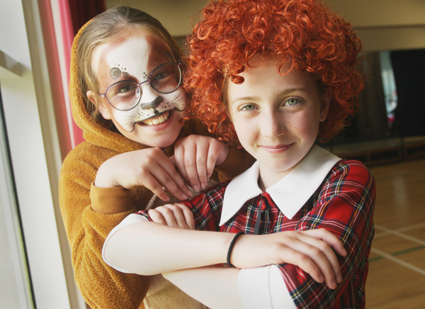 Lucy McAloon and Kiera Fennell rehearsing for the production of Annie at Mercy PS as the Primary 7s get ready to move on to big school