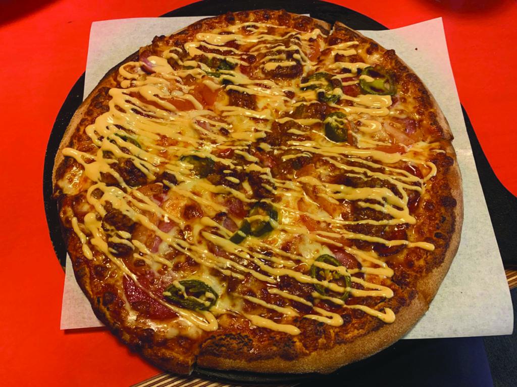 The Sloppy Joe Pizza at Pizza Guyz