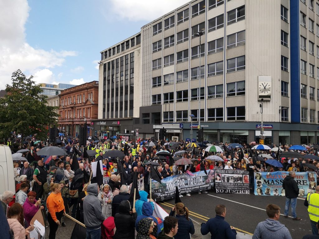 The Time for Truth March arrives at Belfast City Hall yesterday, Sunday