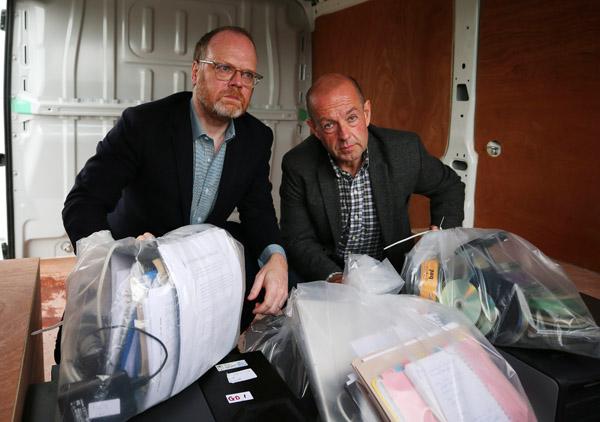 Trevor Birney and Barry McCaffrey at Castlereagh police station on Tuesday
