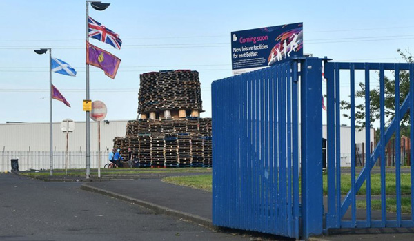 CONTROVERSIAL: The Eleventh Night bonfire at Avoniel Leisure Centre