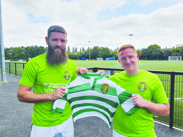 Belfast Celtic manager Stephen McAlorum (right) admits he didn't plan to step into management so soon, but couldn't turn down the chance to lead the West Belfast outfit into a new chapter, while he says the signing of Mark Clarke, pictured above, was a massive coup for the new season