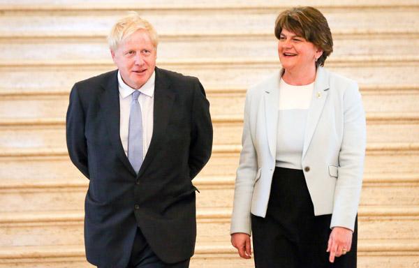 Boris Johnson met DUP leader Arlene Foster at Stormont on Tuesday
