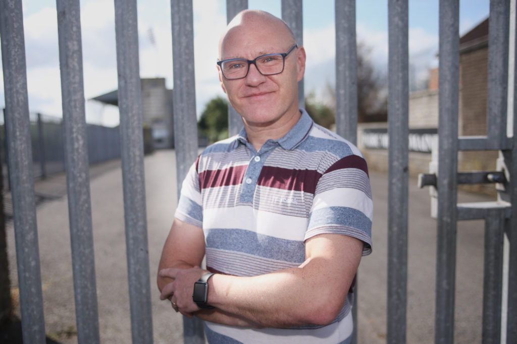 LOCKED OUT: West Belfast MP Paul Maskey outside the locked gates of Casement Park