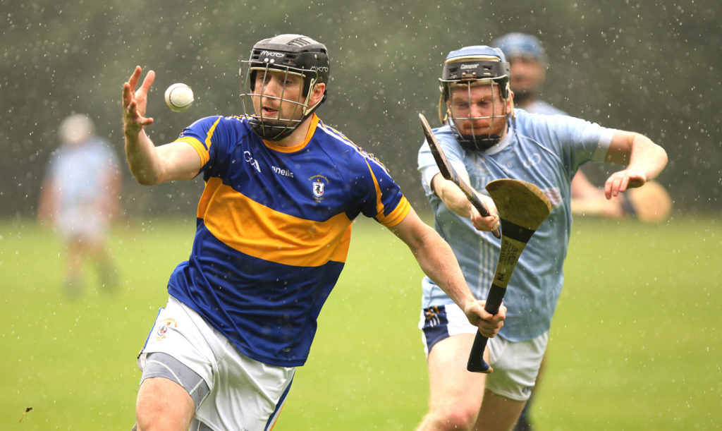 Rain didn't stop play at Milltown Row in the Antrim Division One clash of St Galls and Rossa