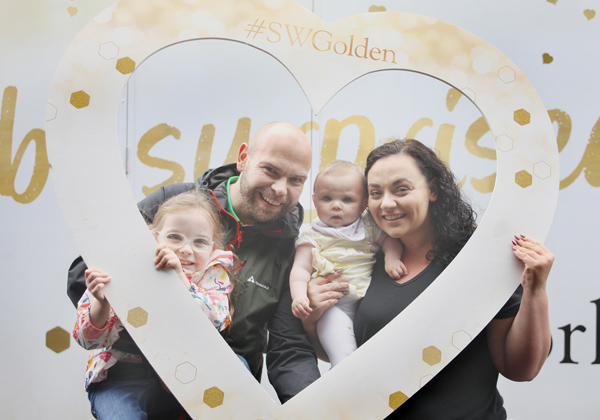 Slimming World's Big Bus tour lands at Kennedy Centre. Clare,  John, Niamh and Olivia Burns joined in the fun