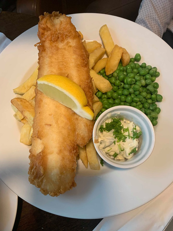 CLASSIC: Fresh cod served with tartar sauce, mixed salad and house fries – the fish is delivered fresh daily