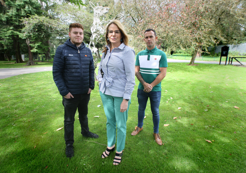 BACKING YOUTH WORKERS:Sinn Féin councillors Tina Black, Ronan McLaughlin (left) and Michael Donnelly