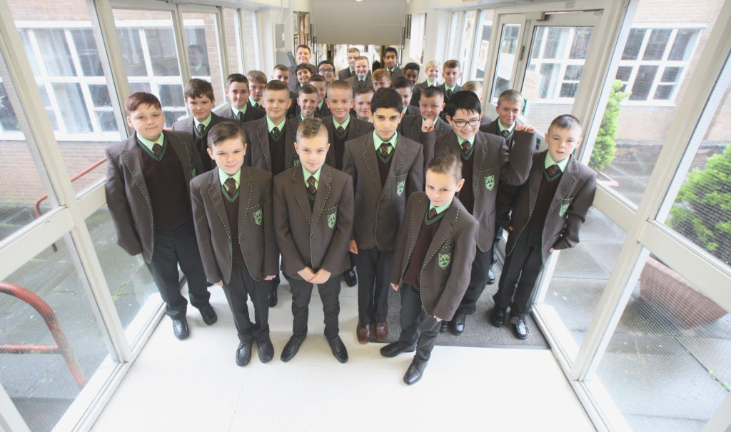 First day back after the summer holidays - and first time for boys in 1st Year at St Louise's Comprehensive College