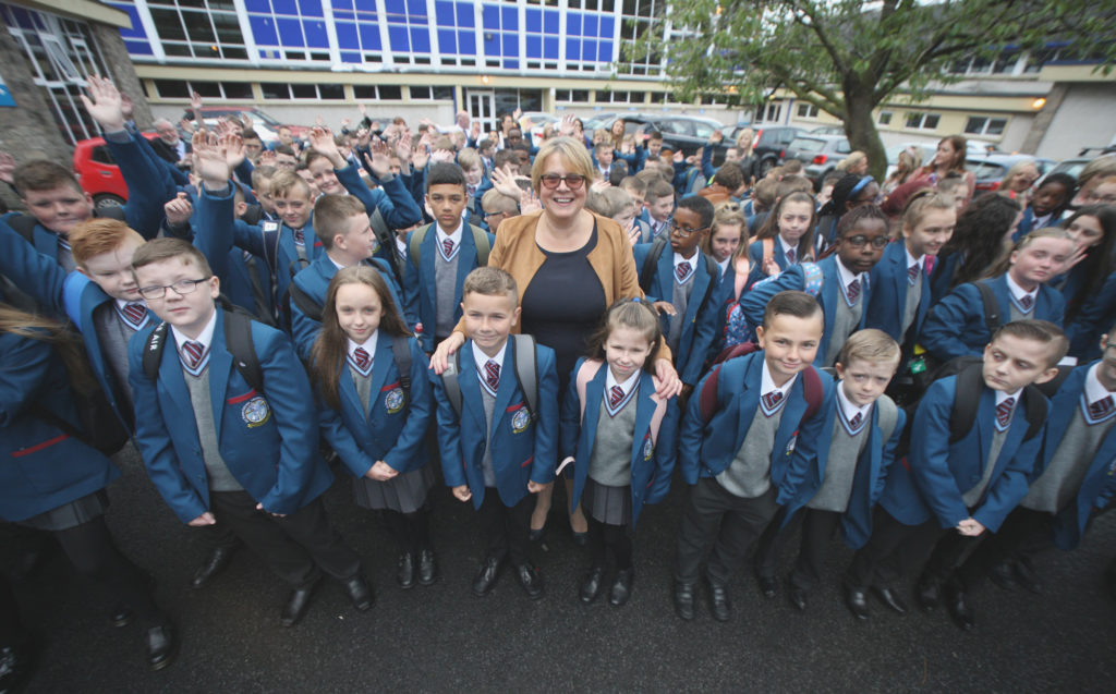 Bronagh Farrimond, Principal of All Saints College on the Glen Road, with the Year Eights at the new school