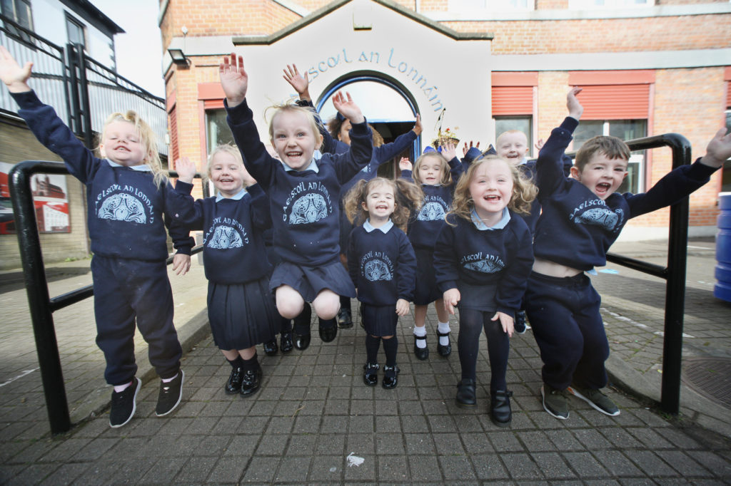 Rang a hAon at Gaelscoil An Lonn‡in enjoying the start of their schooldays