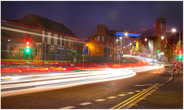 An alternative eye: the Falls Road by night