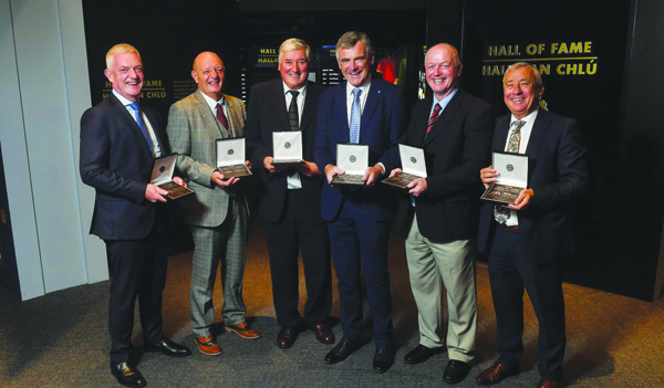 Terence 'Sambo' McNaughton (second from left) with fellow GAA Hall of Fame inductees (L-R) Nicky English and Conor Hayes, and former footballers Colm O'Rourke, Larry Tompkins and Denis 'Ogie' Moran at Croke Park last week. The Naomh Éanna senior hurling manager has stressed the importance of Antrim getting its GaelFast project right to ensure the growth of hurling in the county if it wants to get back challenging at the top