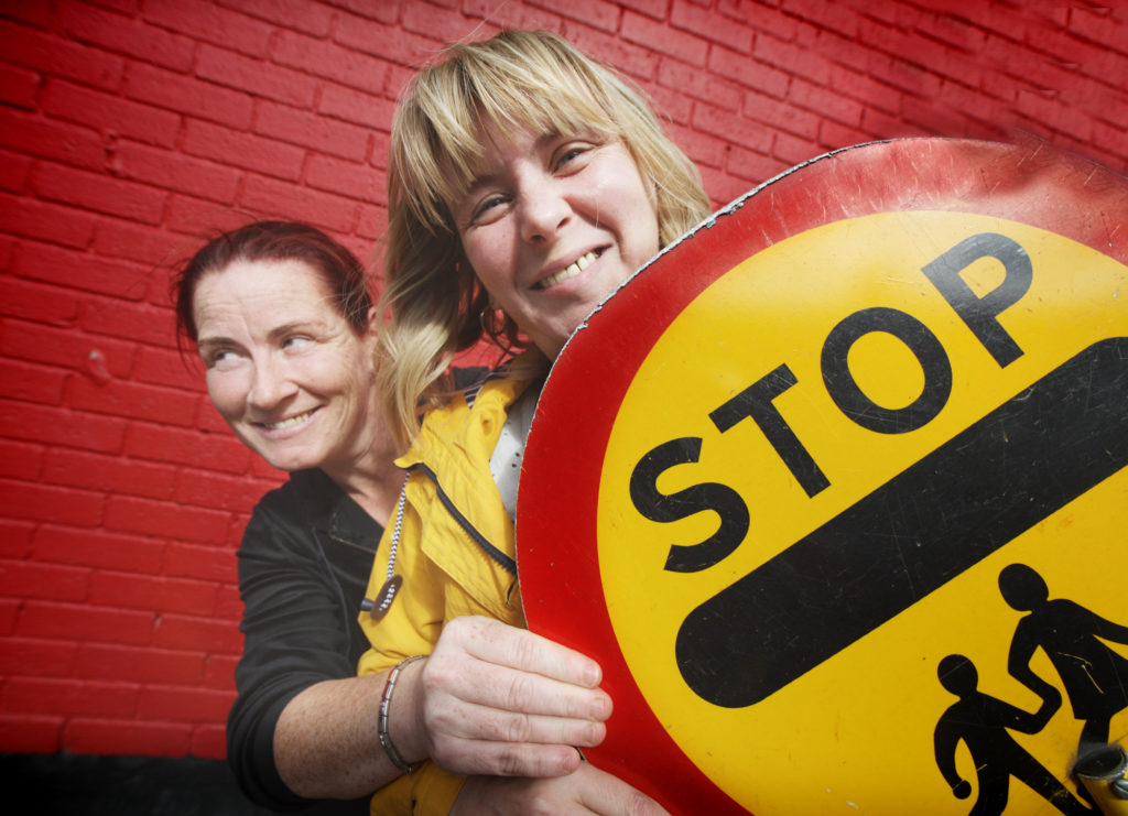 WATCH YOUR SPEED: Parents Martina Power and Karen Maxwell urging drivers to slow down on Newington Avenue, where concerns about traffic are growing