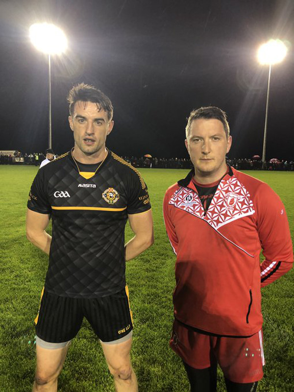 HEAD TO HEAD: Portglenone captain Niall McKeever with Lámh Dhearg captain John Finucane, right, ahead of Monday night's second replay at Ballymena