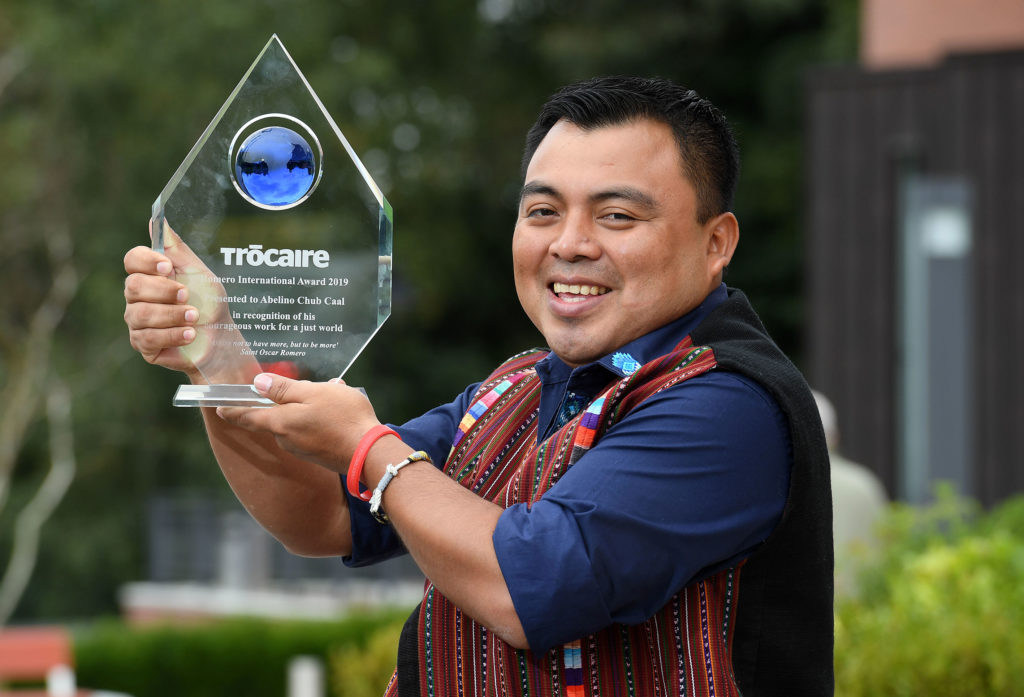 RECOGNITION:Abeline Chub Caal with his Trócaire award