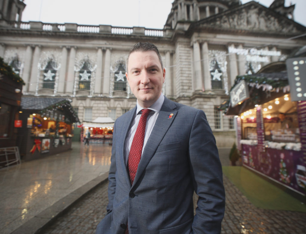 North Belfast Sinn Féin candidate John Finucane outside Belfast City Hall