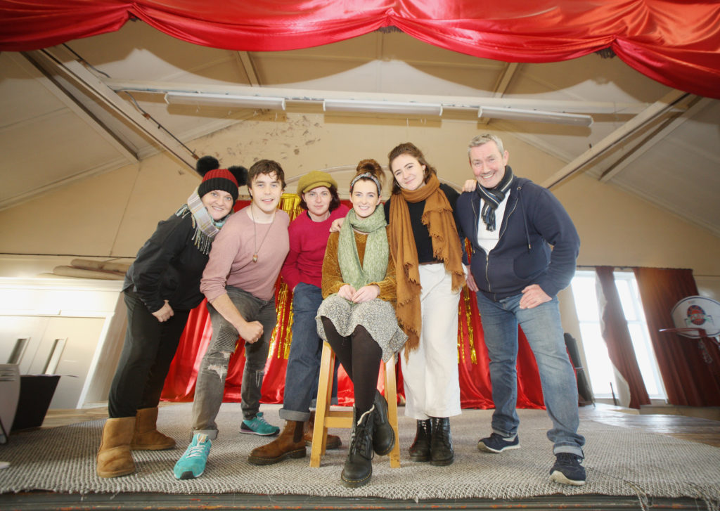 REHEARSALS: Marty Maguire with Eimear Barr, Catriona McFeely, Nicky Harley, Gavin Peden and Jo Donnelly