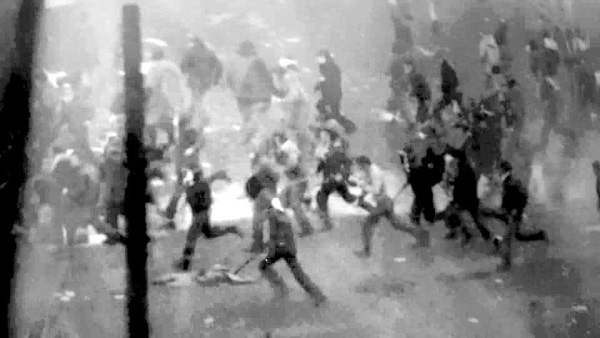 DRAMATIC: In the series of pictures, men in the camp are show fleeing, unconscious and battered
