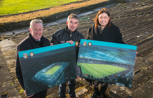 Minister of Finance, Conor Murphy, with Tom Daly, Chairman Casement Project and Minister for Communities, Deirdre Hargey, at Casement Park