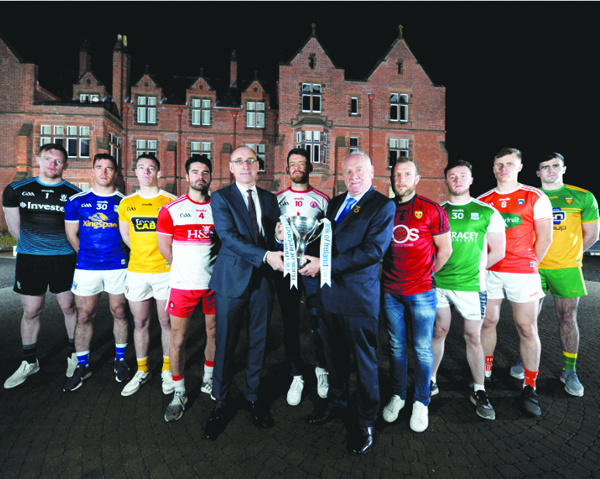 Antrim captain Declan Lynch, pictured third from left at the recent launch of the 2020 Dr McKenna Cup, knows the Saffrons must make a strong start to the season as they seek to challenge for promotion from Division Four in the coming months