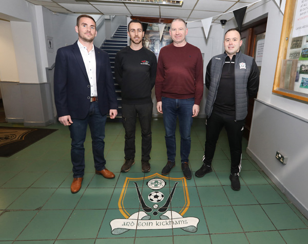 New Ardoyne Kickhams manager Ross Carr (third from left) pictured with senior players Jim Og McAuley, Conor Magee and captain Conor McDowell after being unveiled as the North Belfast club