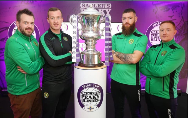 Belfast Celtic manager Stephen McAlorum, picured above (far right) at the fifth round draw, knows his side face a huge challenge this Saturday as they take on Irish Premiership side Larne at Inver Park for a place in the sixth round