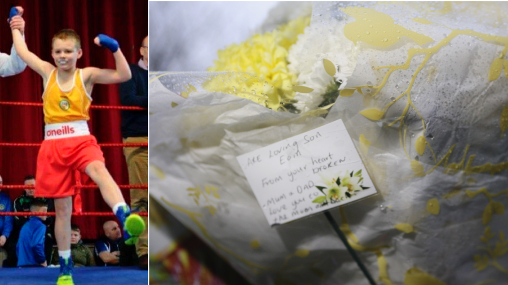 Glenn ABC boxer Eoin Hamill, floral tributes left at the scene on the Springfield Road
