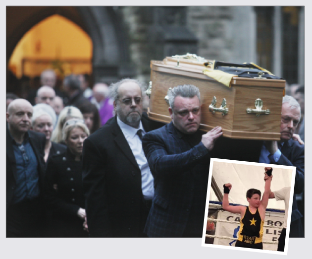 Cillian is laid to rest and, inset, the talented young boxer celebrating a win