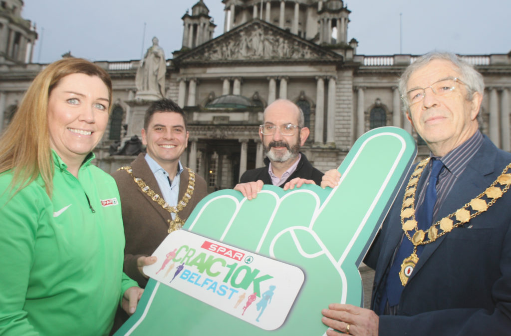 ON YOUR MARKS: Bronagh Luke from SPAR; Ian Taylor, President, Athletics NI; Conor O'Kane from Marie Curie; and Lord Mayor Daniel Baker