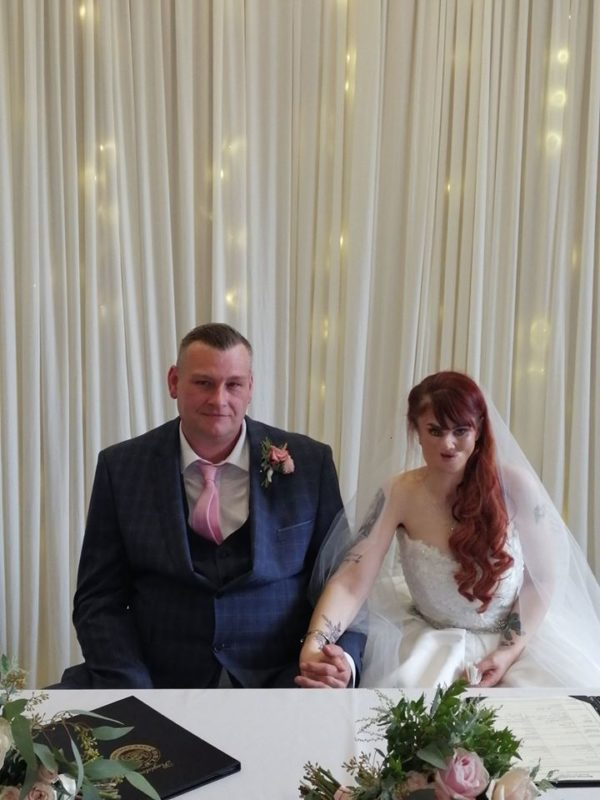 BIG DAY: Janine and Matthew tied the knot back in October