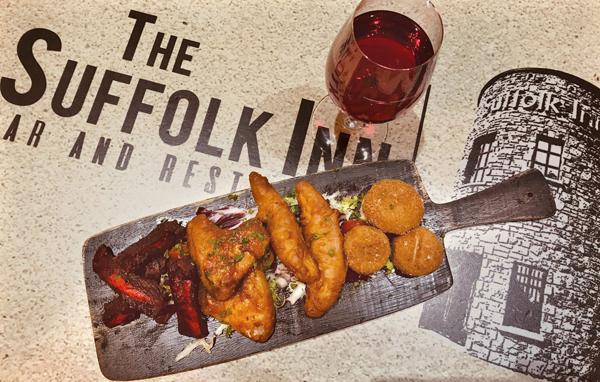 The delicious starter platter of breaded mushrooms, crispy chicken goujons, BBQ ribs and 'Suffolk Crispy Wings'