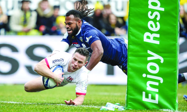 John Cooney breaks free to score an early try for Ulster in last week's defeat against Clermont Auvergne that saw the French outfit leapfrog them into top spot\nMandatory Credit ©INPHO/Dan Sheridan