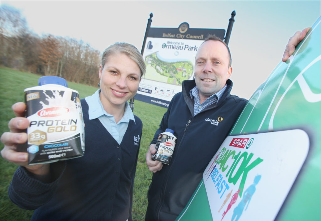 ENERGY BOOST: Leona Chorazyova of GLL and Alan Lowry of Avonmore looking forward to the run