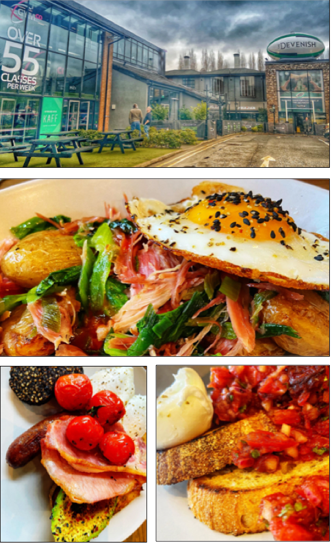 UNGUILTY PLEASURES: From top, the new Kaff at the Devenish Complex; the ham hock was melt-in-the-mouth; the all-day breakfast (bottom left) is that thing you thought never existed – the healthy fry; toasted sourdough with smashed avocado, smoked salsa and poached eggs