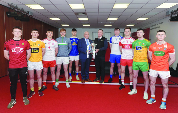 Representatives from the various Ulster counties, including Antrim's Aaron McNeilly, were present at the launch of the Ulster U20 Football Championship at the Tyrone GAA Centre at Garvaghey earlier this month along with Ulster GAA president Oliver Galligan and Fergal Keenan from competition sponsors EirGrid.