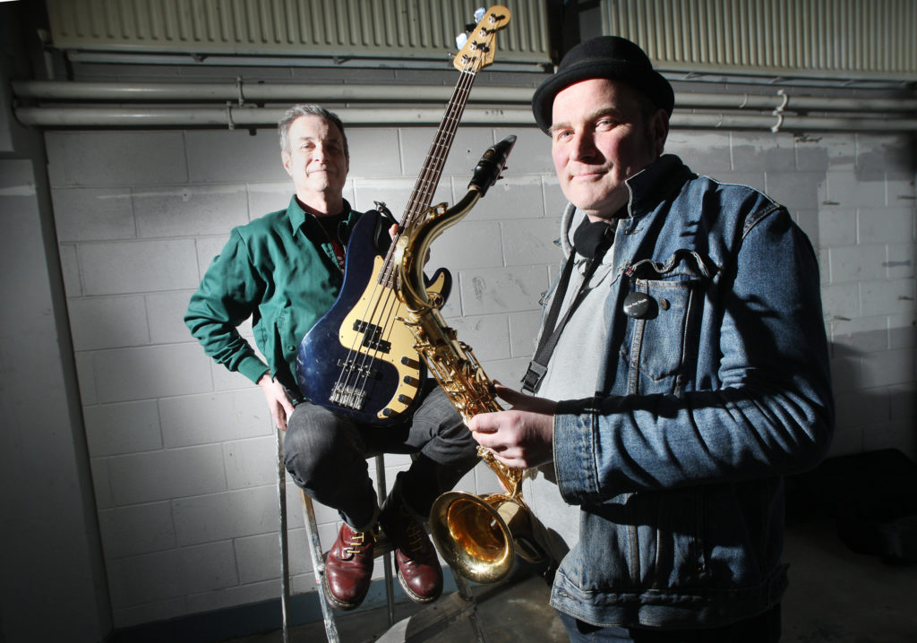 ALL ABOARD: Buzz Ó Briáin and Máirtín ahead of the barge gig