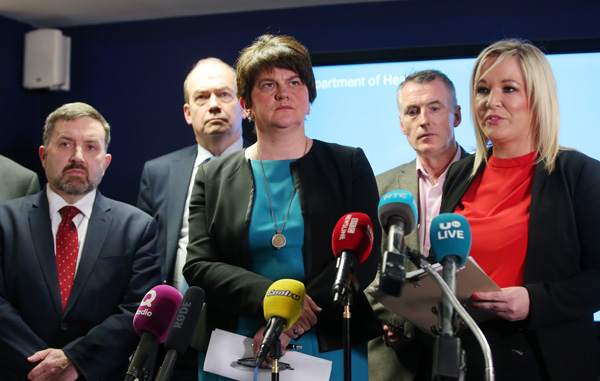 DECISIONS: Health Minister Robin Swann, First Minister Arlene Foster, Deputy First Minister Michelle O'Neill, Chief Medical Officer Dr Michael McBride and Jnr Minister Declan Kearney