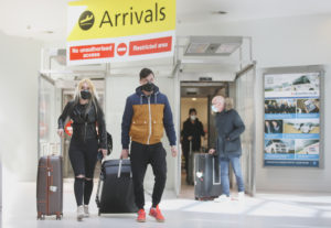 """""""SMALL PRICE TO PAY"""": Passengers arriving into Belfast City Airport on Wednesday 22 April. Photos by Thomas McMullan"""