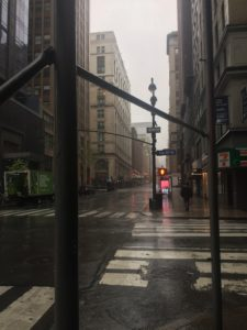 11am Easter Monday: Heavy rains batter a deserted Madison Avenue in the Big Apple. Picture by Madeline O'Boyle