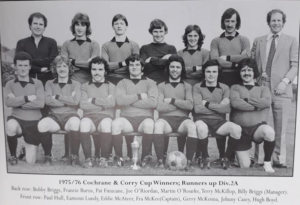 WINNERS: The triumphant Malachians team which lifted the Cochrane Corry Cup three times. Martin is third from right in back row. (Pat Finucane is fifth from right in back row.)