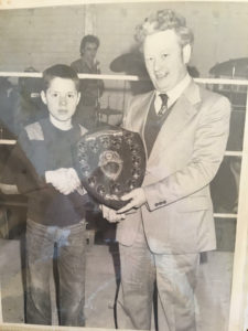 HONOURS: Peter accepting boxing award in his youth for Corpus Christi ABC