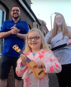 CLAP FOR CARERS: The Regan family of Cavendish Square, Martin, Claire (a receptionist at Ballyowen Health Centre) and little Ronagh