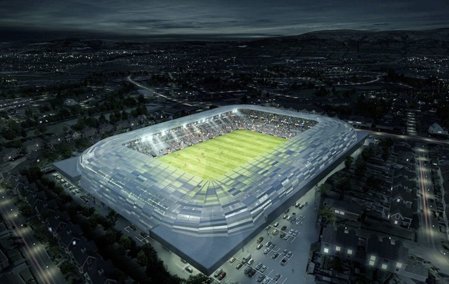 BRIGHT HOPES: How the redeveloped Casement Park should look under floodlights.