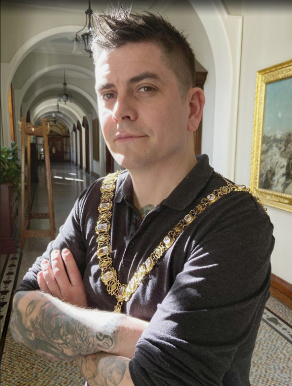 Lord Mayor Danny Baker back in March, just days before the lockdown[/caption]